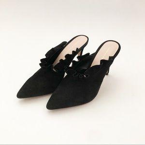 Loeffler Randall | Black Suede Langley Mule Heels